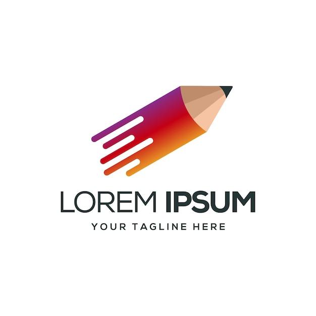 Logotipo do lápis tecno Vetor Premium