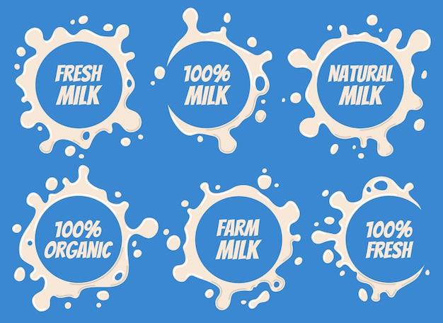 Logotipo do leite e desenhos de rótulos Vetor Premium
