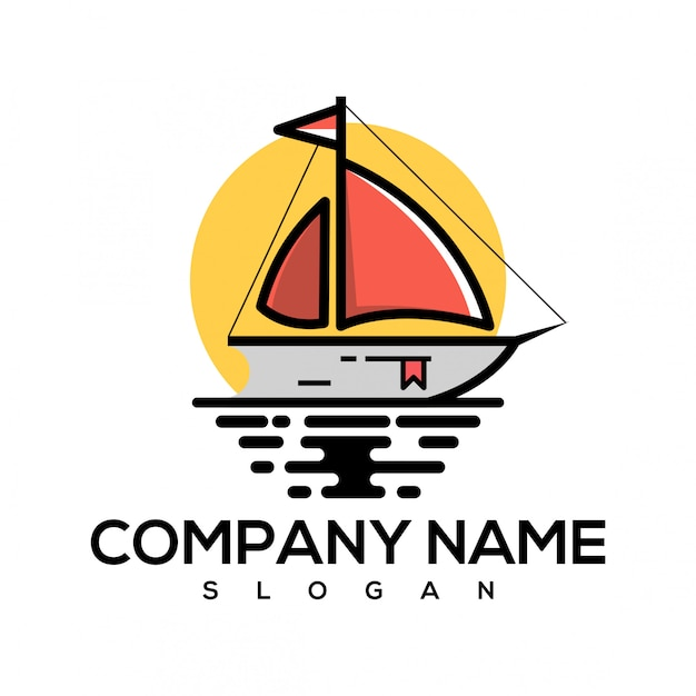Logotipo do livro de barco Vetor Premium