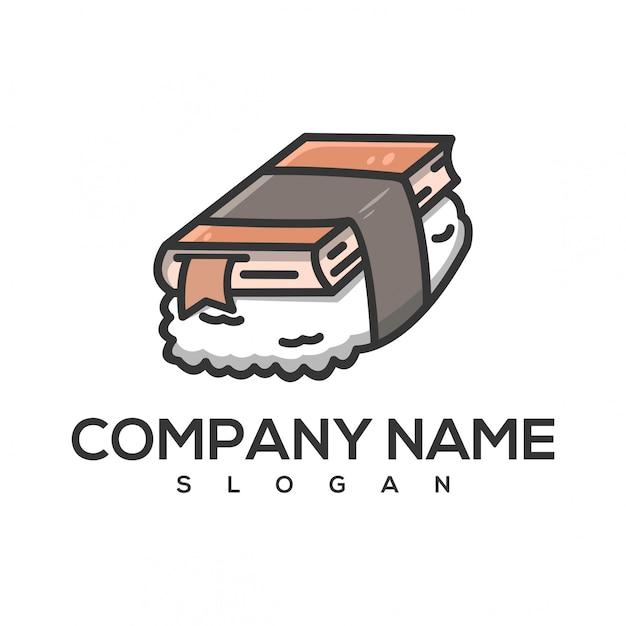 Logotipo do livro de sushi Vetor Premium