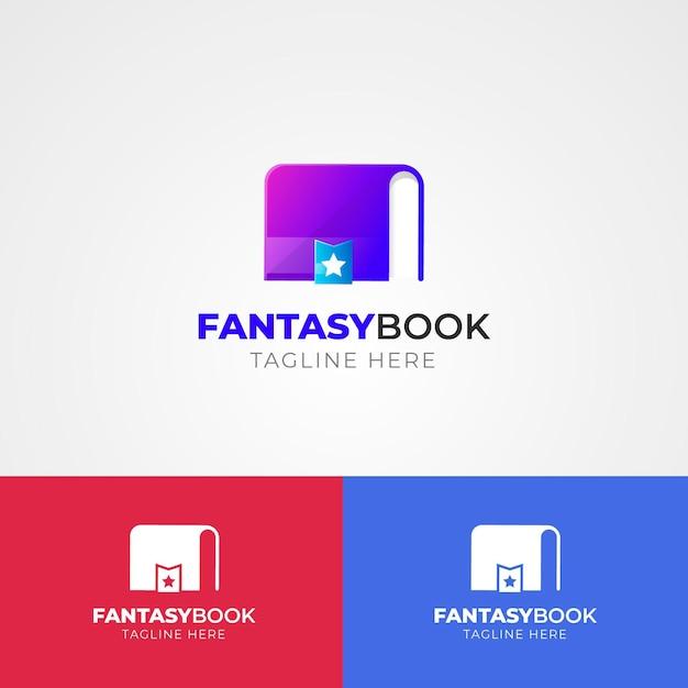 Logotipo do livro gradiente em cores diferentes Vetor grátis