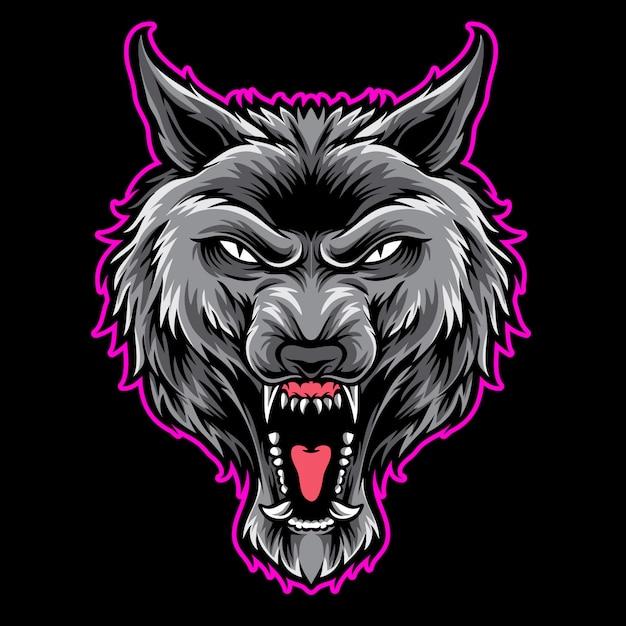 Logotipo do lobo cinzento Vetor Premium