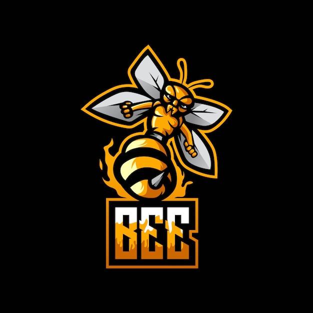 Logotipo do mascote bee esport com conceito moderno de ilustração Vetor Premium