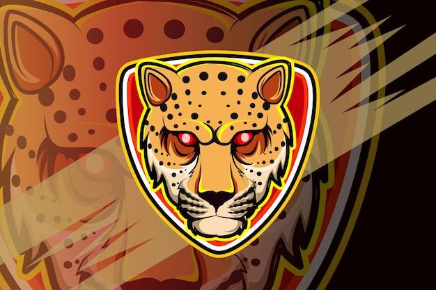 Logotipo do mascote cheetah para jogos de esportes eletrônicos Vetor Premium