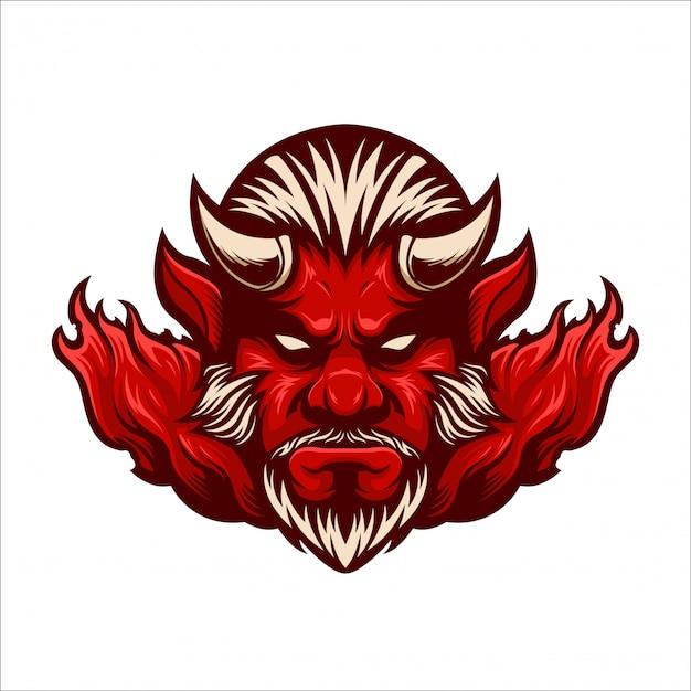 Logotipo do mascote diabo vermelho Vetor Premium