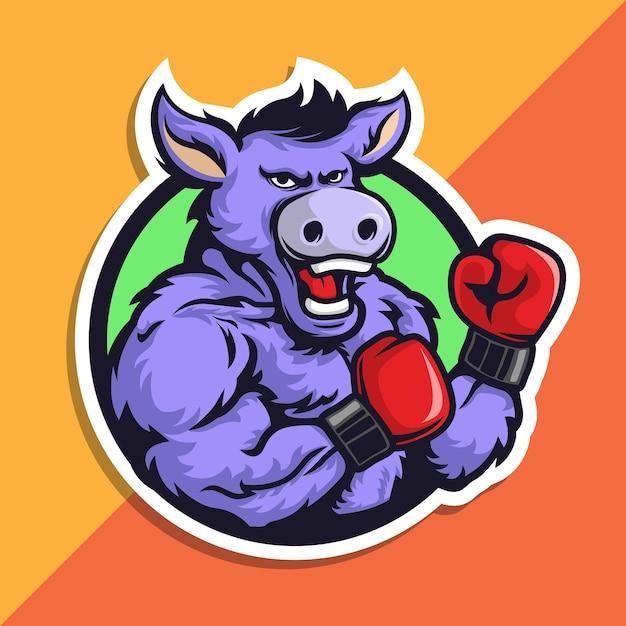 Logotipo do mascote do boxe jackass. burro com luvas. Vetor Premium