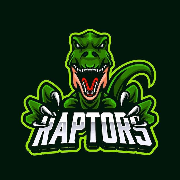 Logotipo do mascote do emblema do raptor predator para esportes eletrônicos ou esportes Vetor Premium