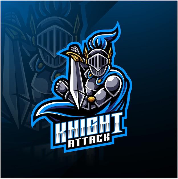 Logotipo do mascote do esporte cavaleiro Vetor Premium