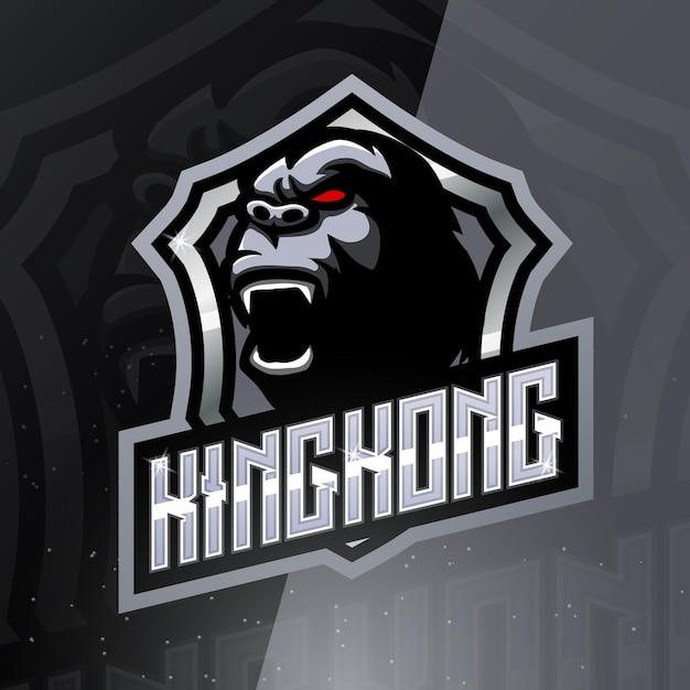 Logotipo do mascote do esporte kingkong Vetor Premium