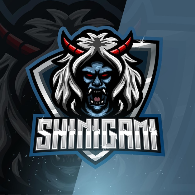 Logotipo do mascote do esporte shinigami Vetor Premium