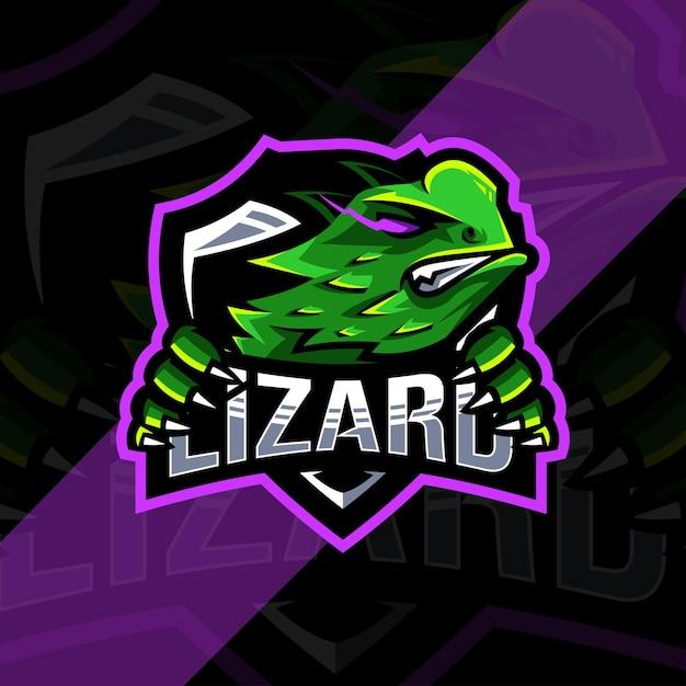 Logotipo do mascote do lagarto Vetor Premium