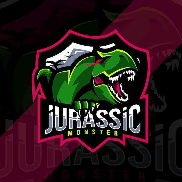 Logotipo do mascote do monstro jurássico Vetor Premium