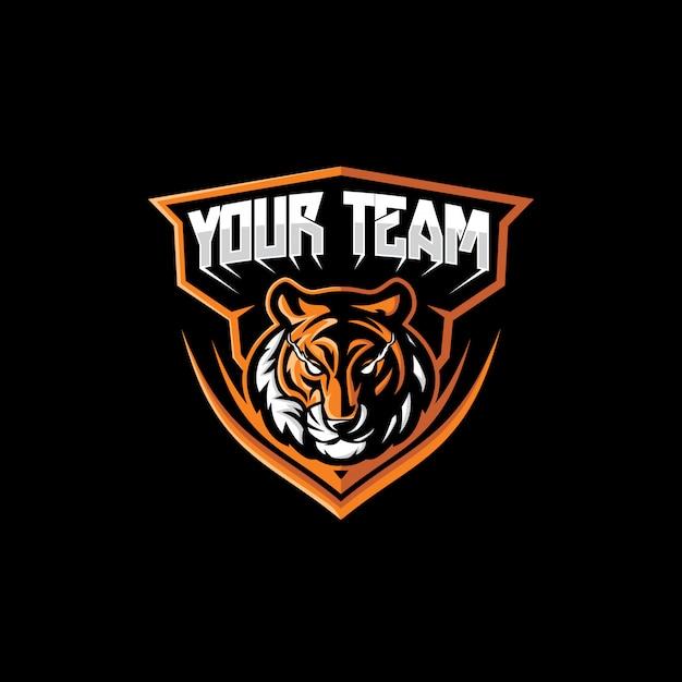 Logotipo do mascote do rosto do tigre dos esporte Vetor Premium