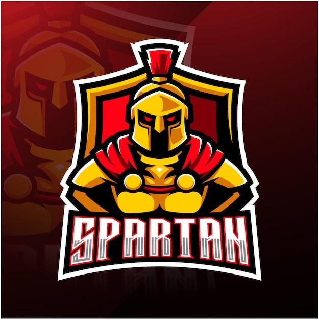 Logotipo do mascote esporte espartano Vetor Premium