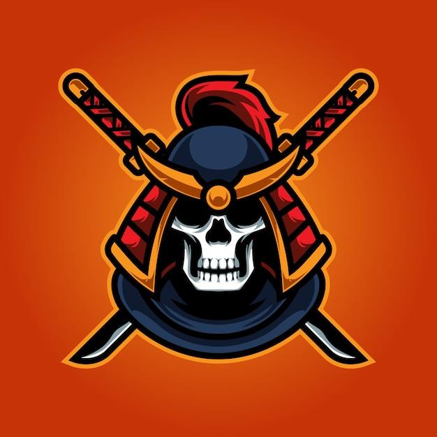 Logotipo do mascote skull ninja e sport Vetor Premium