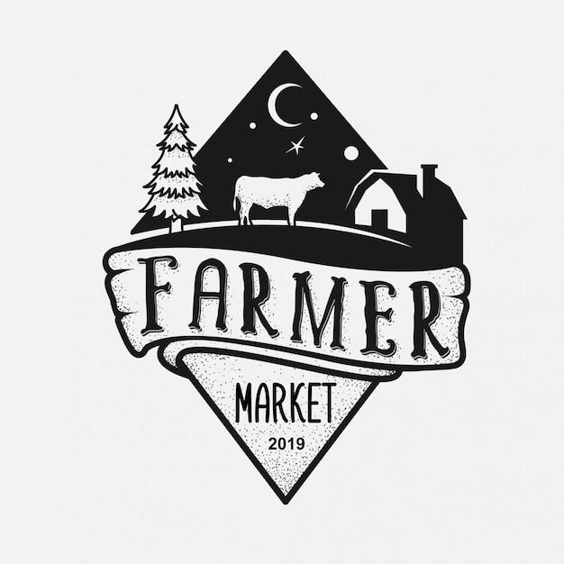 Logotipo do mercado de agricultores Vetor Premium