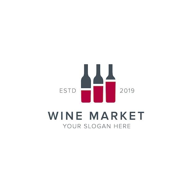 Logotipo do mercado de vinhos Vetor Premium