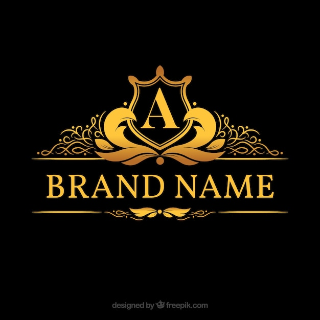 """Logotipo do monograma com letra dourada """"a"""" Vetor grátis"""