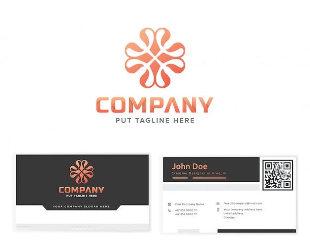 Logotipo do monograma da flor com artigos de papelaria cartão de visita Vetor Premium
