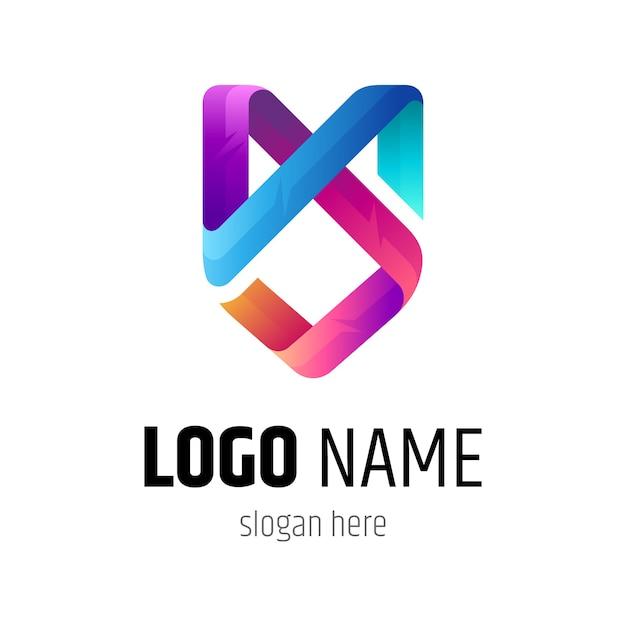 Logotipo do monograma das letras m e s Vetor Premium