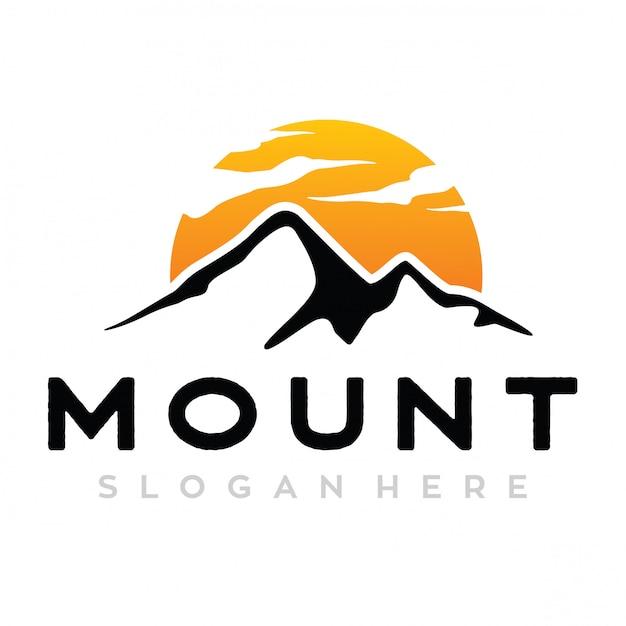 Logotipo do monte e sol Vetor Premium