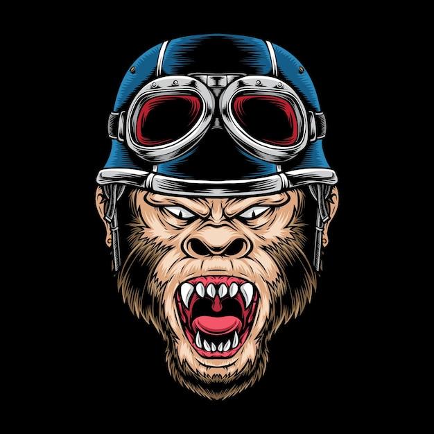 Logotipo do motociclista macaco da raiva isolado no preto Vetor grátis