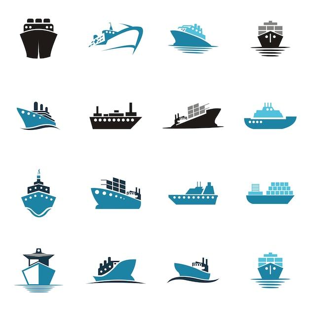 Logotipo do navio do mar Vetor Premium