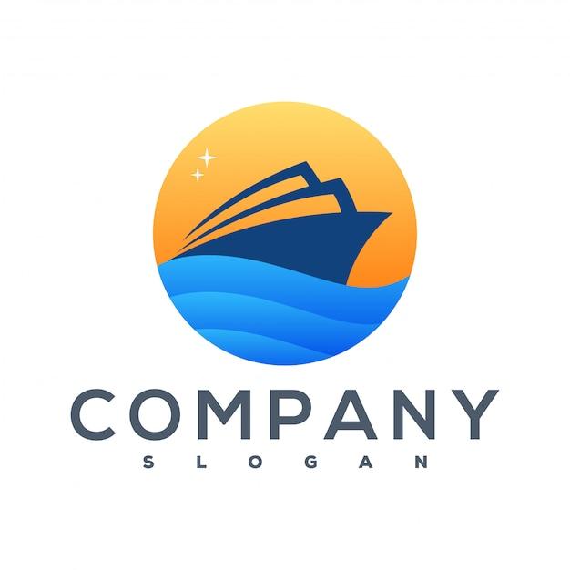 Logotipo do navio Vetor Premium