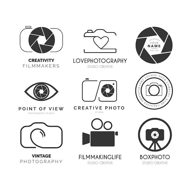 Logotipo do pacote de fotografia moderna com design vintage Vetor grátis
