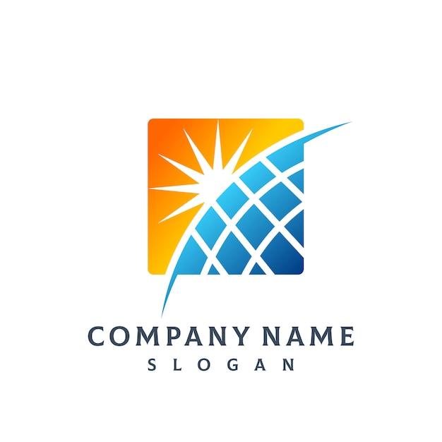 Logotipo do painel solar Vetor Premium