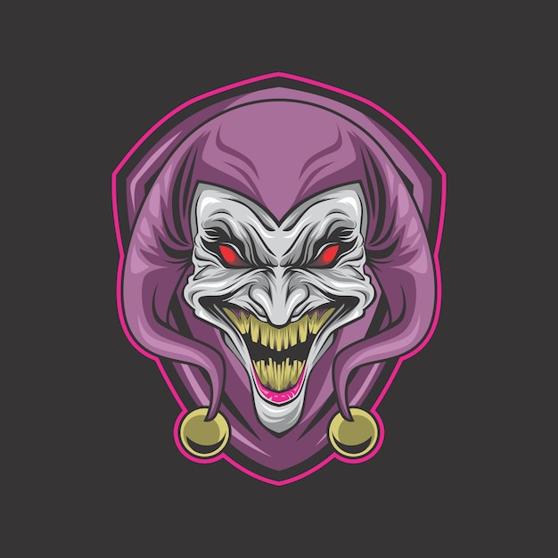Logotipo do palhaço louco Vetor Premium