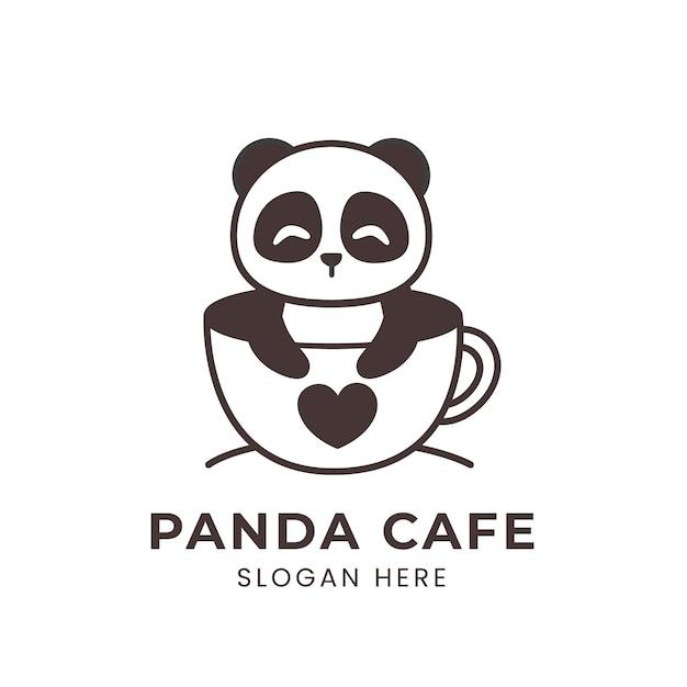 Logotipo do panda fofo dentro de uma xícara de café Vetor Premium