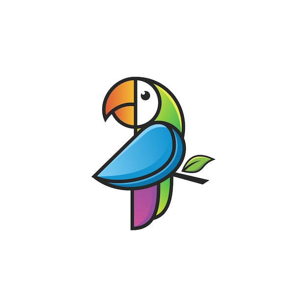 Logotipo do papagaio colorfull Vetor Premium