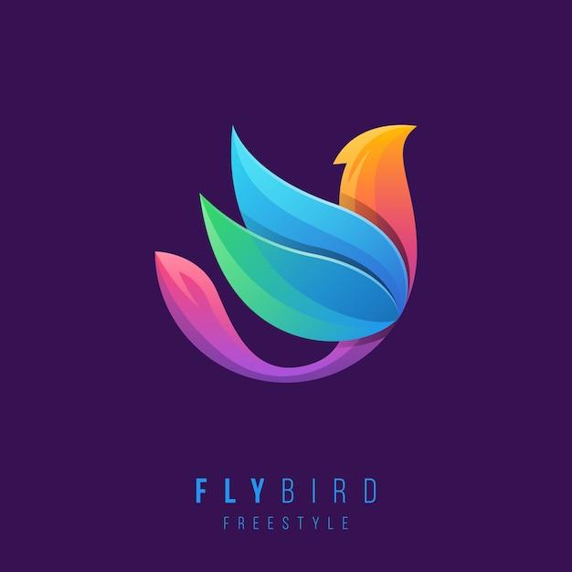 Logotipo do pássaro criativo com cores gradientes. Vetor Premium