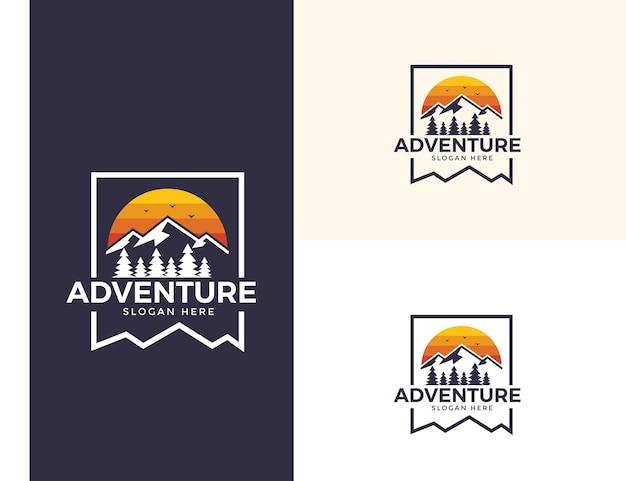 Logotipo do pico da aventura vintage Vetor Premium