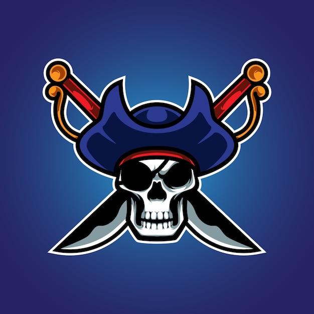 Logotipo do pirates skull e sport Vetor Premium