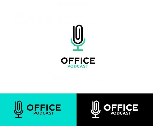 Logotipo do podcast do clipe de escritório Vetor Premium