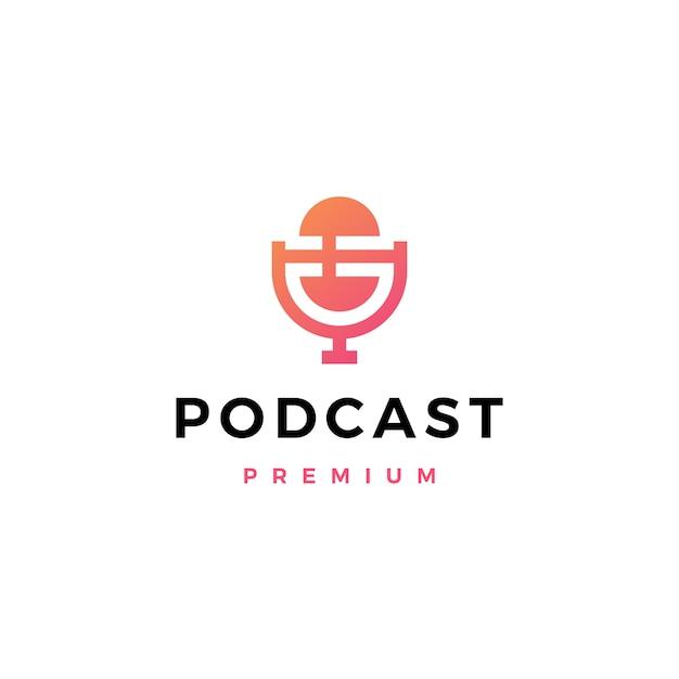 Logotipo do podcast do microfone Vetor Premium