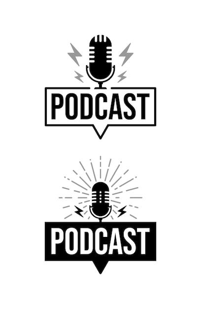 Logotipo do podcast Vetor Premium