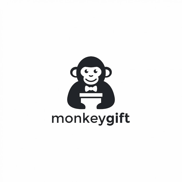 Logotipo do presente do macaco Vetor Premium