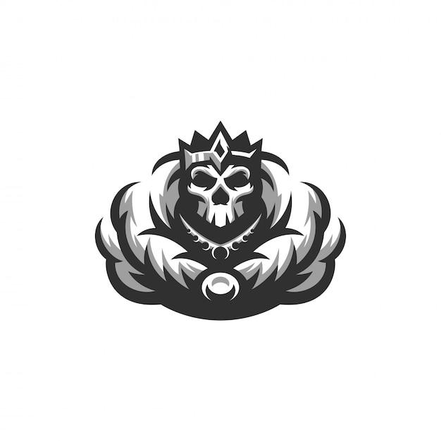 Logotipo do rei de esqueleto Vetor Premium