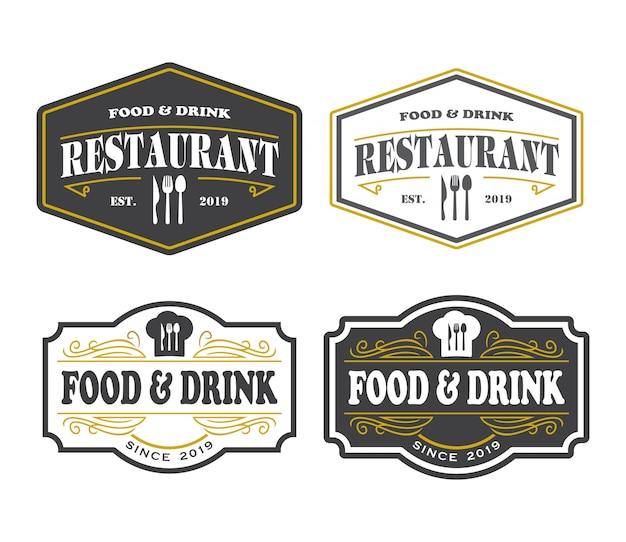 Logotipo do restaurante, comida e bebida elegante logo Vetor Premium