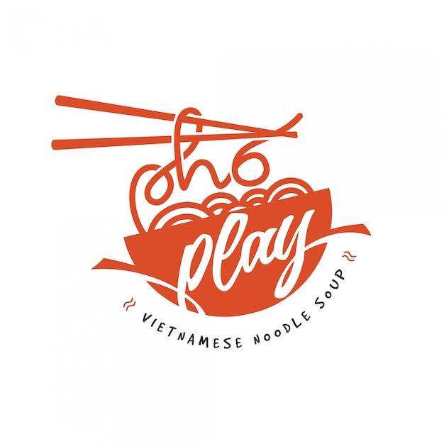 Logotipo do restaurante de macarrão Vetor Premium