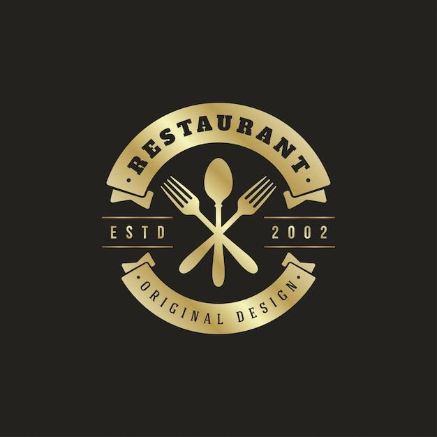 Logotipo do restaurante de silhuetas colher e garfos Vetor Premium