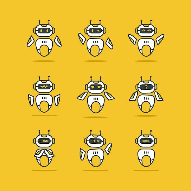 Logotipo do robô definido em amarelo Vetor Premium