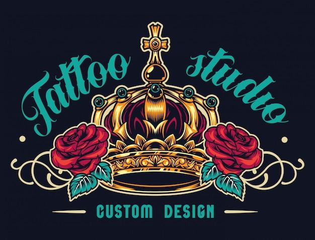 Logotipo do salão de tatuagem colorido Vetor grátis