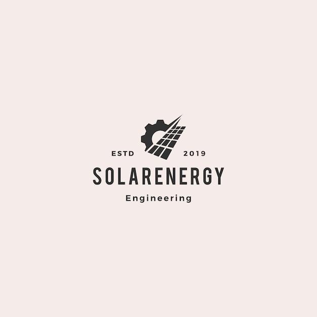 Logotipo do serviço de energia do painel solar Vetor Premium