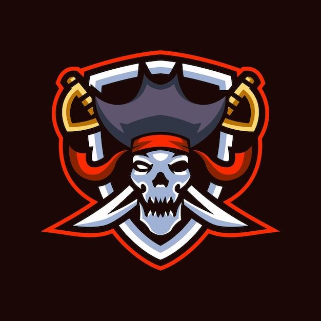 Logotipo do skull pirates esports Vetor Premium