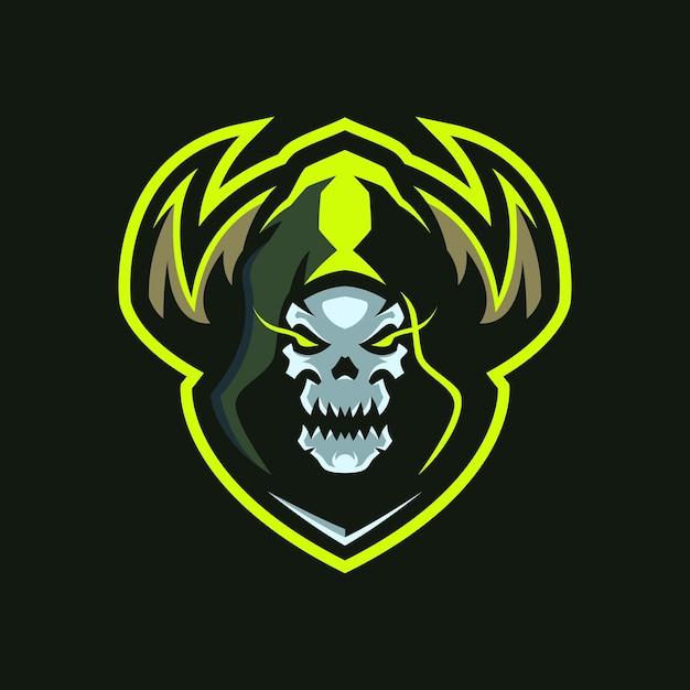 Logotipo do skull shaman esports Vetor Premium