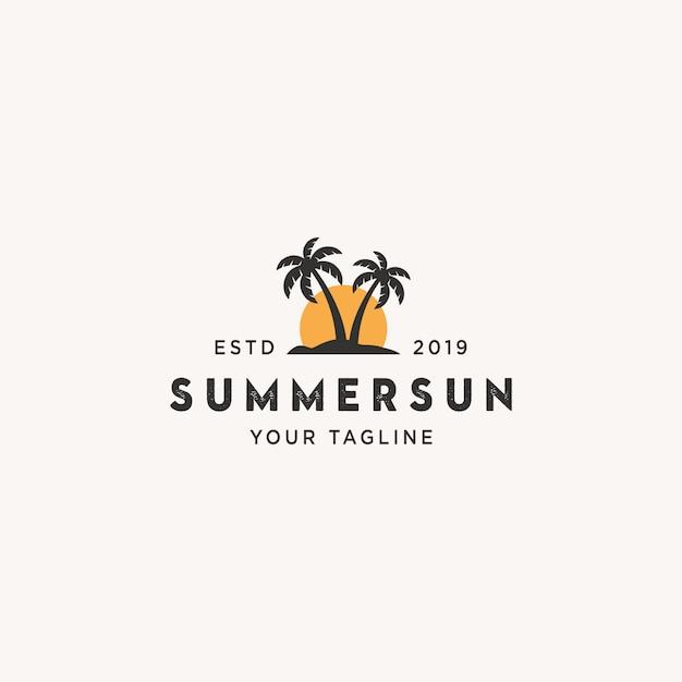 Logotipo do sol de verão Vetor Premium